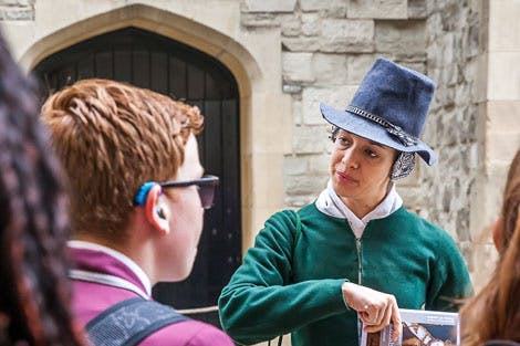 School students visiting the Tower of London for a school session.