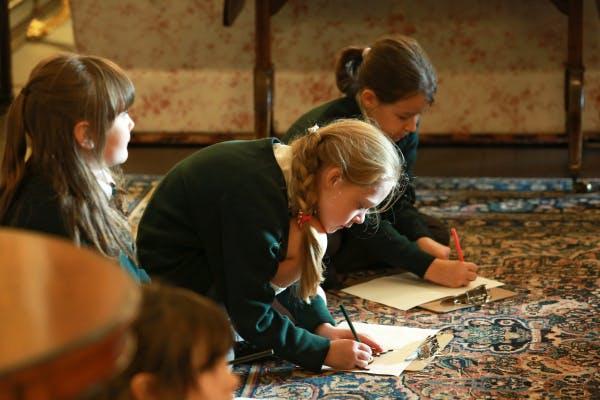 Schoolchildren during a history session at Hillsborough Castle.