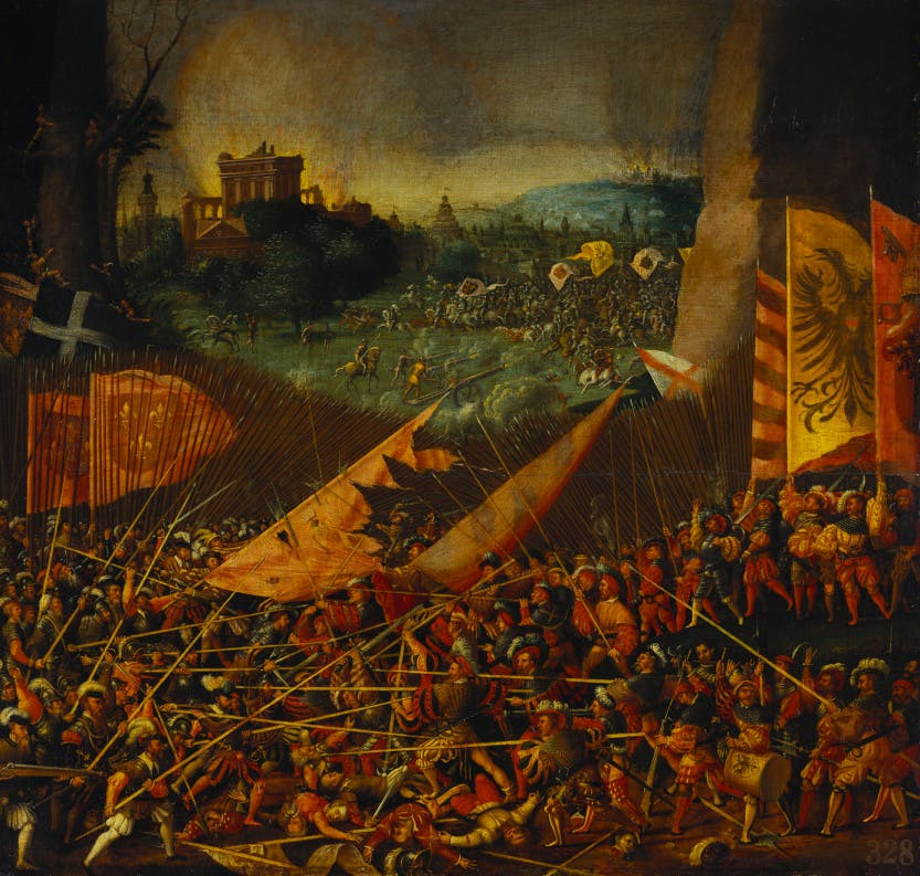 Painting depicting the Battle of Pavia c. 1530