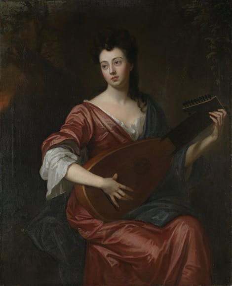Portrait of Arabella Hunt, wearing a silk red gown, playing the lute.