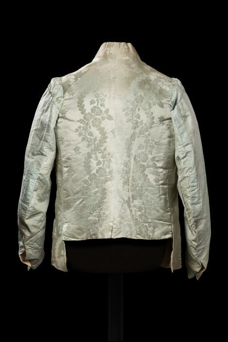 King George III's waistcoat (back), made in 1819. This waistcoat was probably one of the last items of clothing the King wore before his death in January 1820
