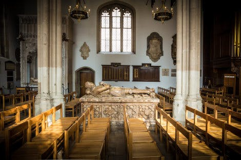The Chapel Royal of St Peter ad Vincula, September 2014. Looking north towards the Sir Richard & Elizabeth Cholmondley chest tomb monument (c1522).