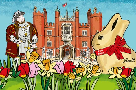 Illustration of the Tudor west gate of Hampton Court Palace with a giant Lindt gold bunny in the foreground. Henry VIII stands on the left of the image.