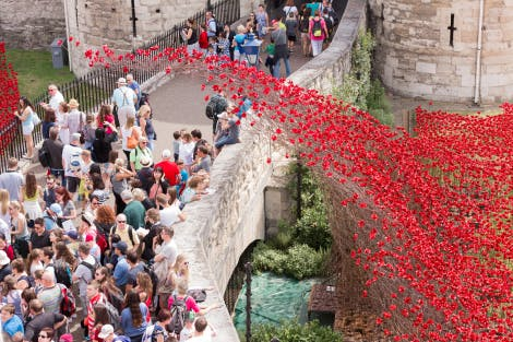 Visitors looking at the display of over 800,000 ceramic poppies that appeared around the Tower of London over the summer of 2014. The poppies form a major art installation marking the centenary of the First World War.