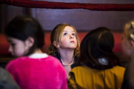 School children visiting Hampton Court Palace.