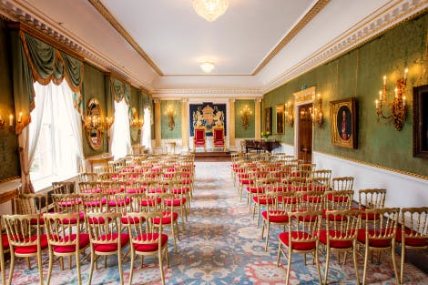 Hillsborough Castle Throne Room setup theatre-style with central isle
