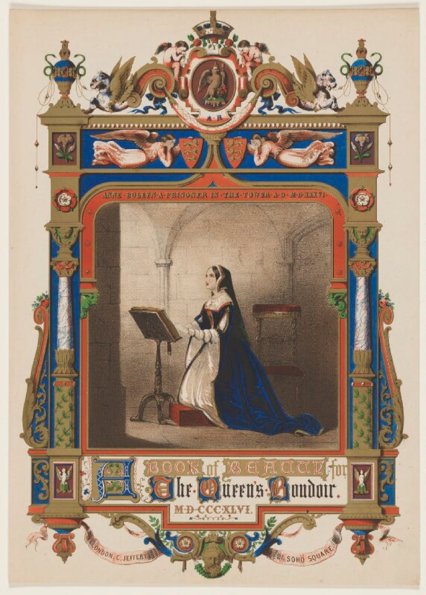Chromolithograph of Anne Boleyn published by Charles Jefferys