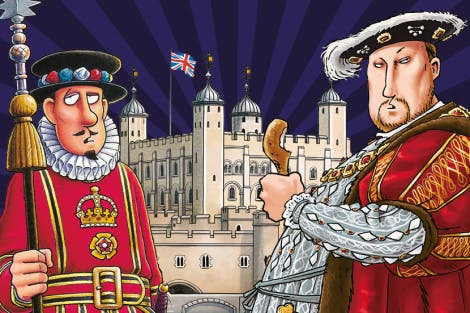 Horrible Histories illustration of Henry VIII, a Yeoman Warder and the White Tower on a purple background