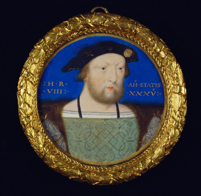 Minature of Henry VIII (1491-1547) June 1526 - June 1527. by LUCAS HORENBOUT (C. 1490/5-1544). Watercolour on vellum laid on playing card (the ace of diamonds)