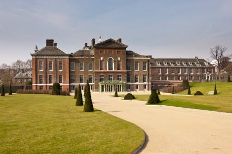 The East Front after Kensington Palace renovations, looking north-west, 22 March 2012.  Part of the Kensington Palace project, 'Welcome to Kensington - a palace for everyone' an undertaking over two years (2010-12) of major refurbishments (renovation) at Kensington, including new gardens.