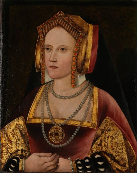 A portrait of Katherine of Aragon, wearing an English gable hood and a red gown.