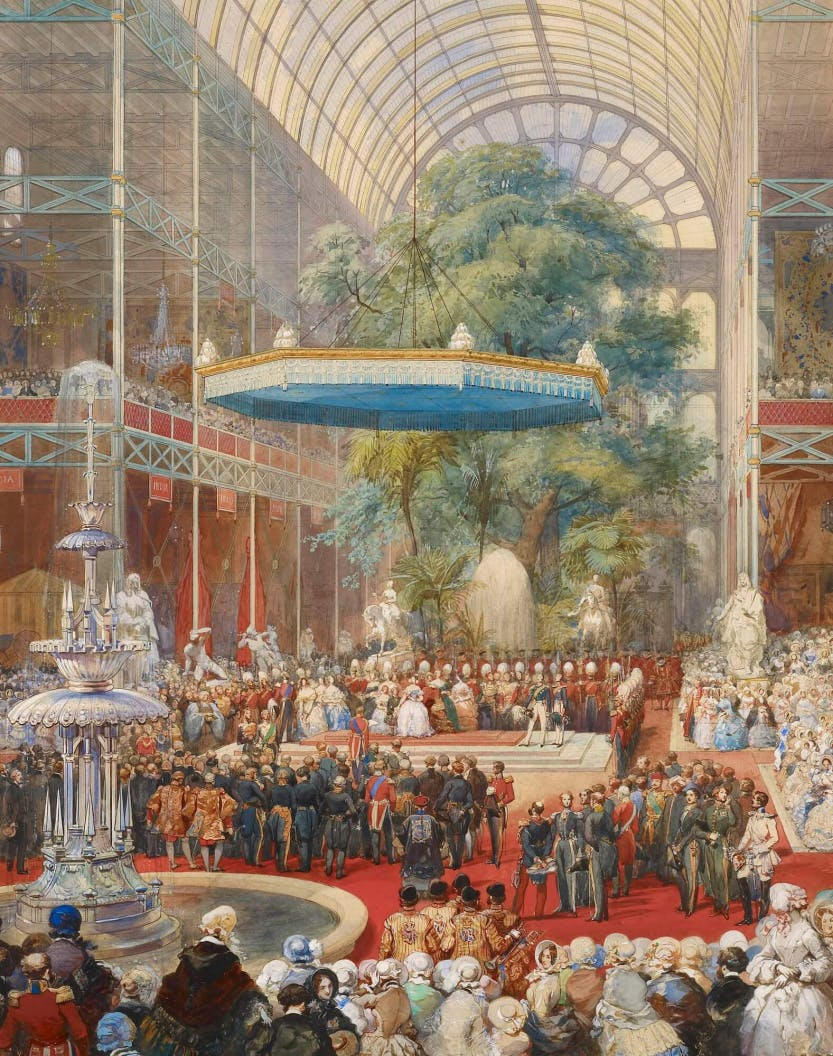 A watercolour depicting the royal party on the dais under the baldacchino, at the crossing of the Crystal Palace