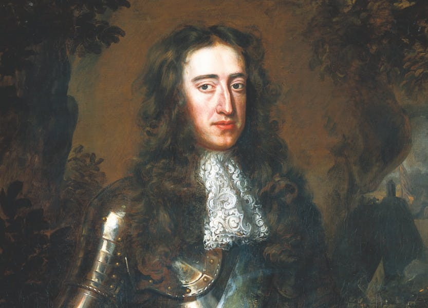 Portrait of William III of Orange by Wissing. William III is pictured in armour on a brown background
