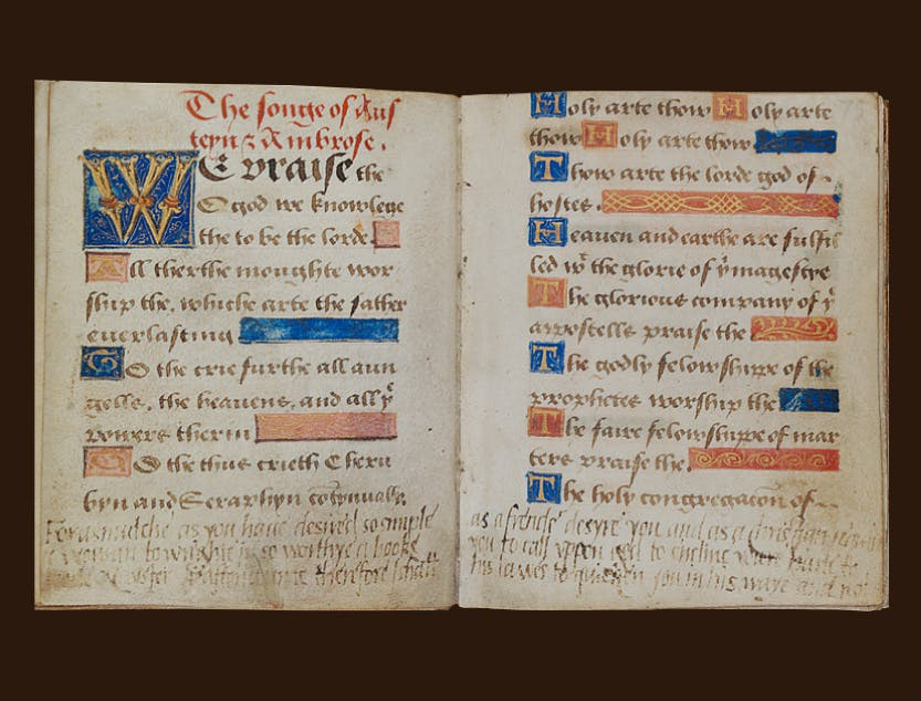 An open prayer book belonging to Lady Jane Grey, with her own handwriting at the bottom of the pages.