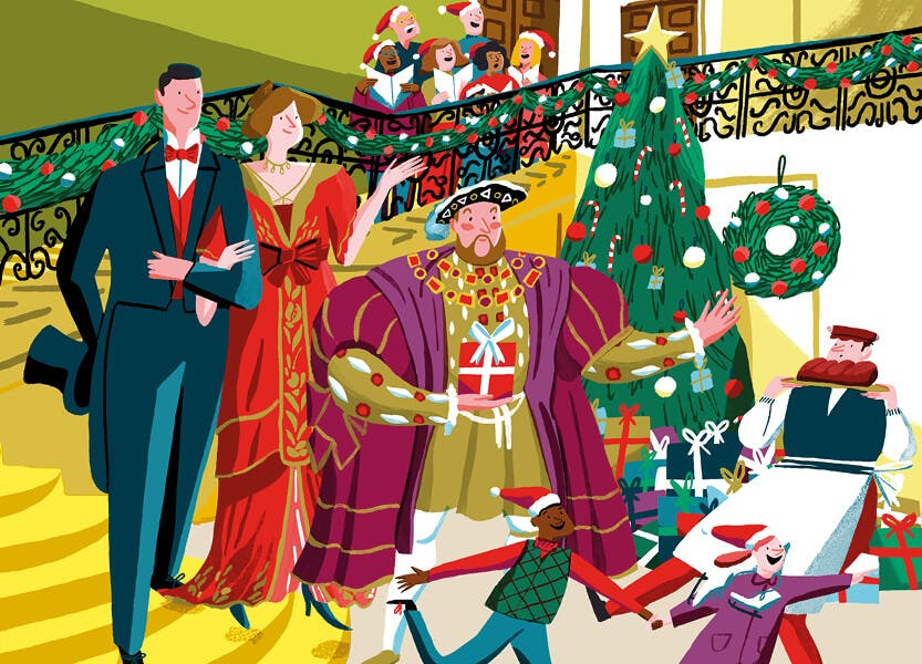 Illustration showing Henry VIII and other Victorian characters in Hampton Court Palace.