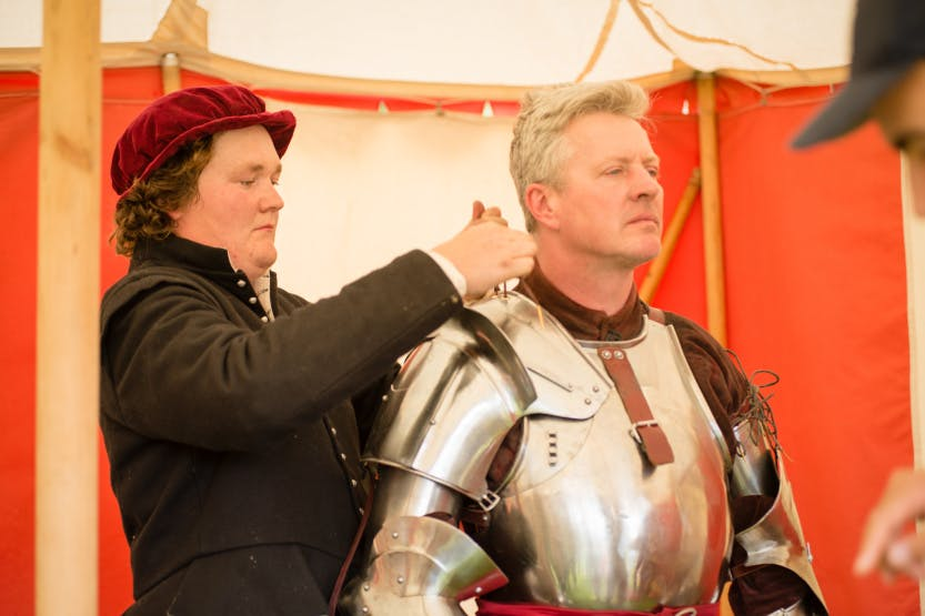 The Arming of the Knights for the Hampton Court Palace Tudor Joust July 2016