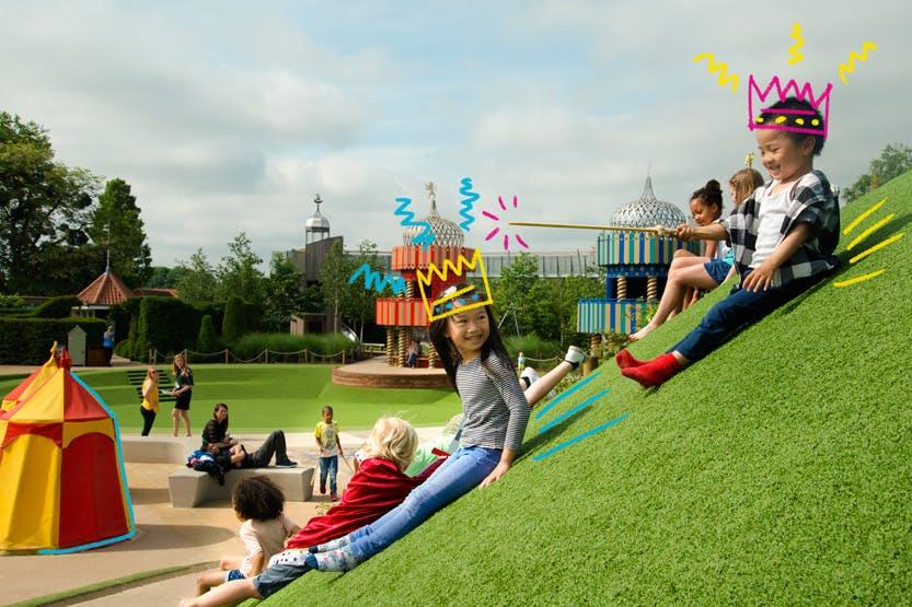 Children play in the Magic Garden of Hampton Court Palace