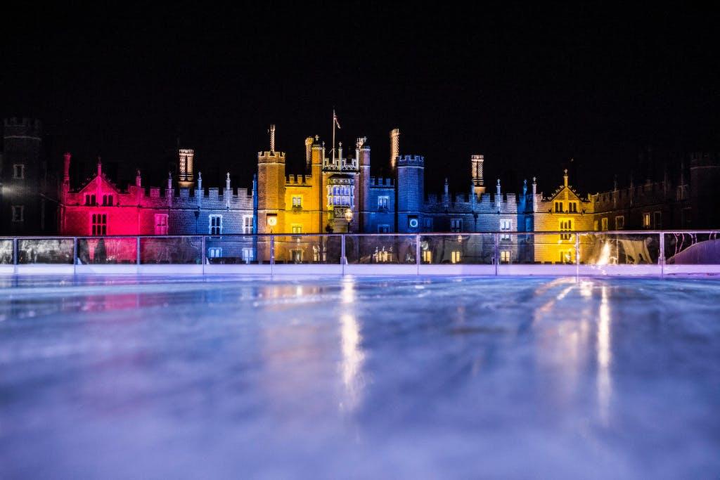 Hampton Court Palace ice rink at night