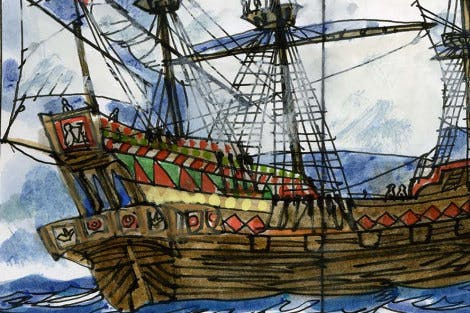 Illustration of Sir Walter Raleigh's ship