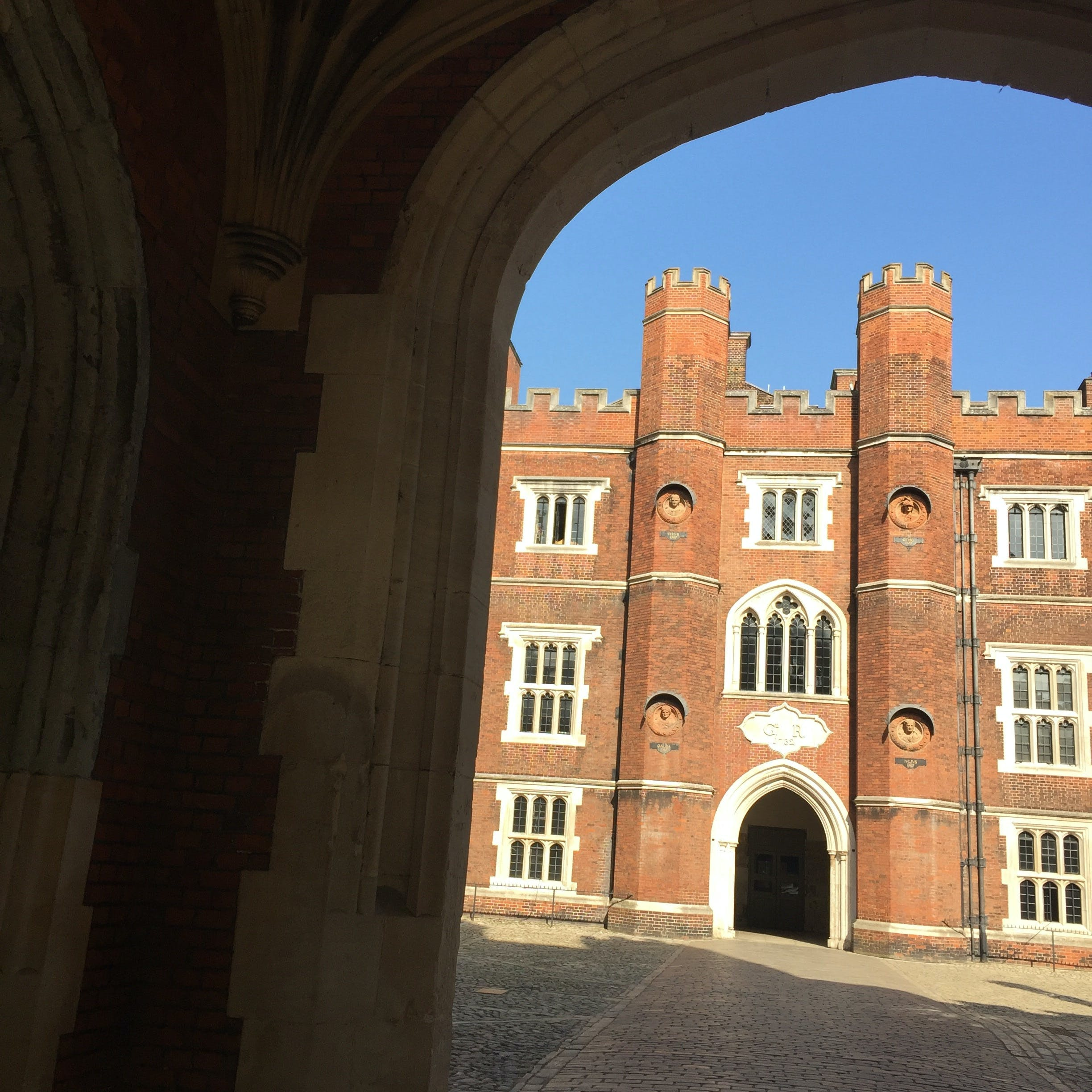 Clock Court at Hampton Court Palace in the sunshine