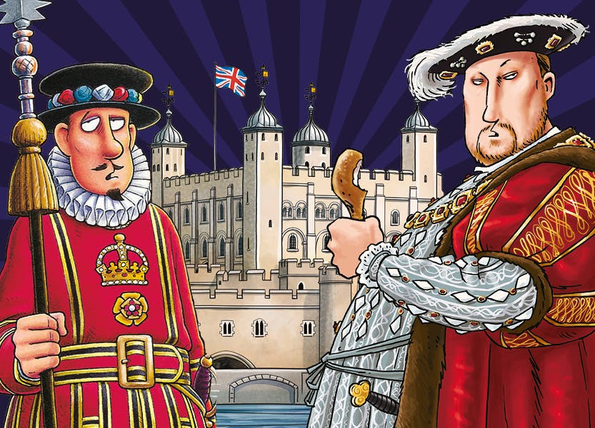 Horrible Histories illustration of Henry VIII and a Yeoman Warder outside the White Tower of the Tower of London