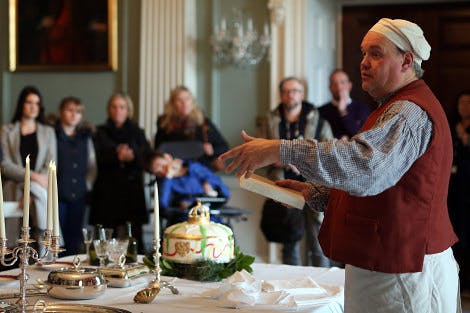 Food historian Marc Meltonville tells visitors about the invention of Christmas.