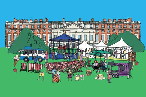 Illustration of the East Front of Hampton Court Palace with food tents and displays in front under a blue sky.
