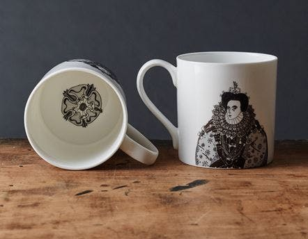 Queen Elizabeth I china mug celebrating Henry VIII's most successful heir.