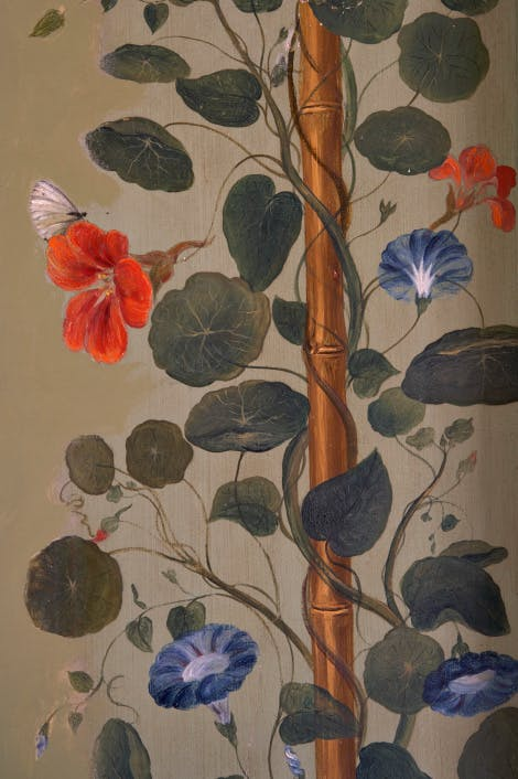 The Picnic Room in Queen Charlotte's cottage at Kew. Detail of the wall murals with their pattern of climbing bamboo, convolvulus and nasturtiums; painted by Princess Elizabeth (1770-1840), daughter of King George III, in c1804.
