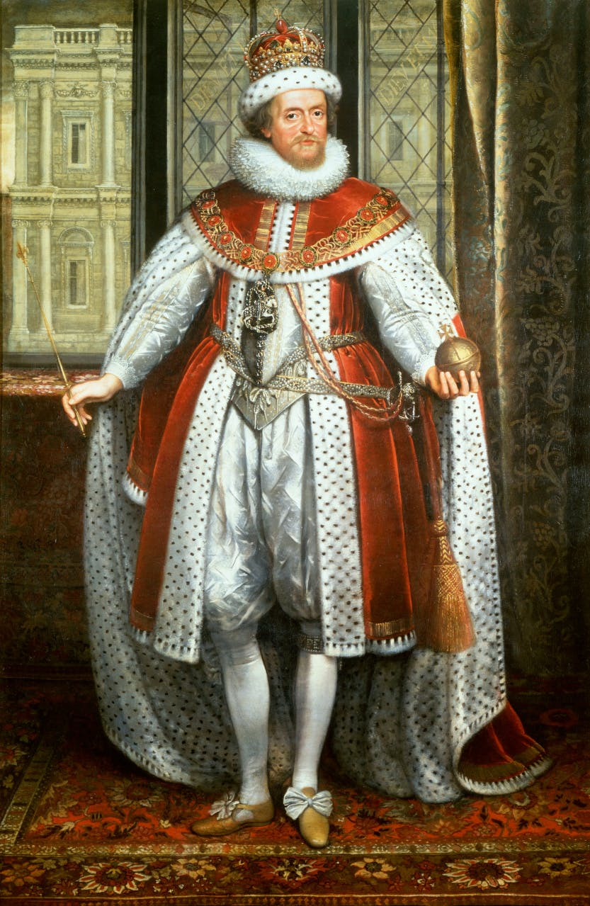 James I presented as an imposing monarchical presence, the orb in his left hand and the sceptre in his right, crowned and sporting the collar and badge of the Order of the Garter. He stands in front of a window within Whitehall Palace with a direct view towards the Banqueting House.