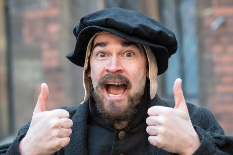 Actor in costume as Tudor Kitchen Clerk for Clerk's Fantastic Feast Digital Mission