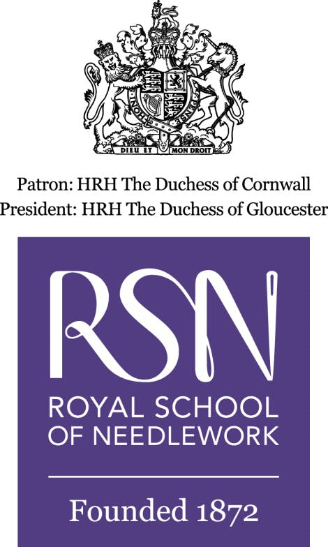 The Royal Society of Needlework logo with Royal Arms.