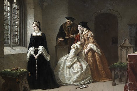 Painting of Lady Jane Grey imprisoned at the Tower of London before her execution.