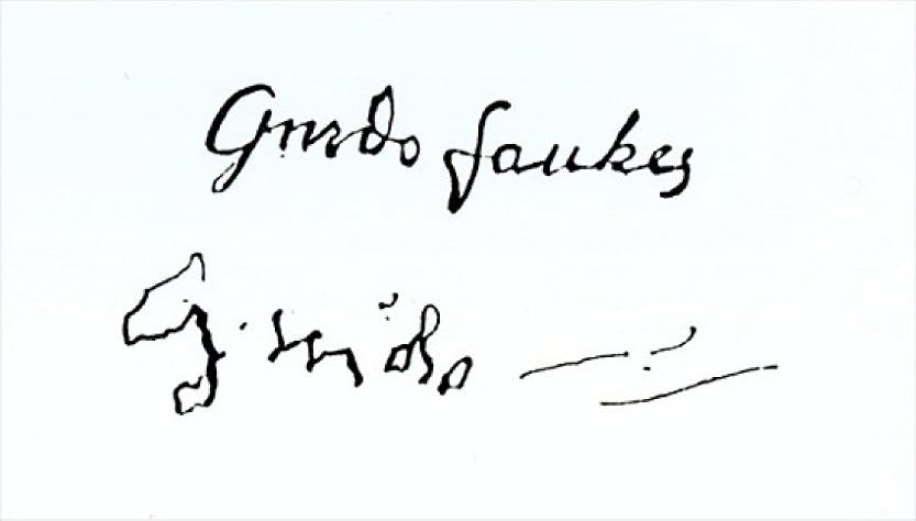 Guy Fawkes signature before and after he was questioned about his part in the Gunpowder Plot.