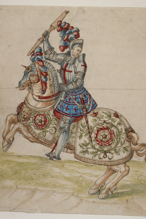 A mounted knight accoutred in blue and crimson, and with his horse's cloth decorated with the Tudor rose. Originally published/produced in S. Netherlands (?), early 16th century