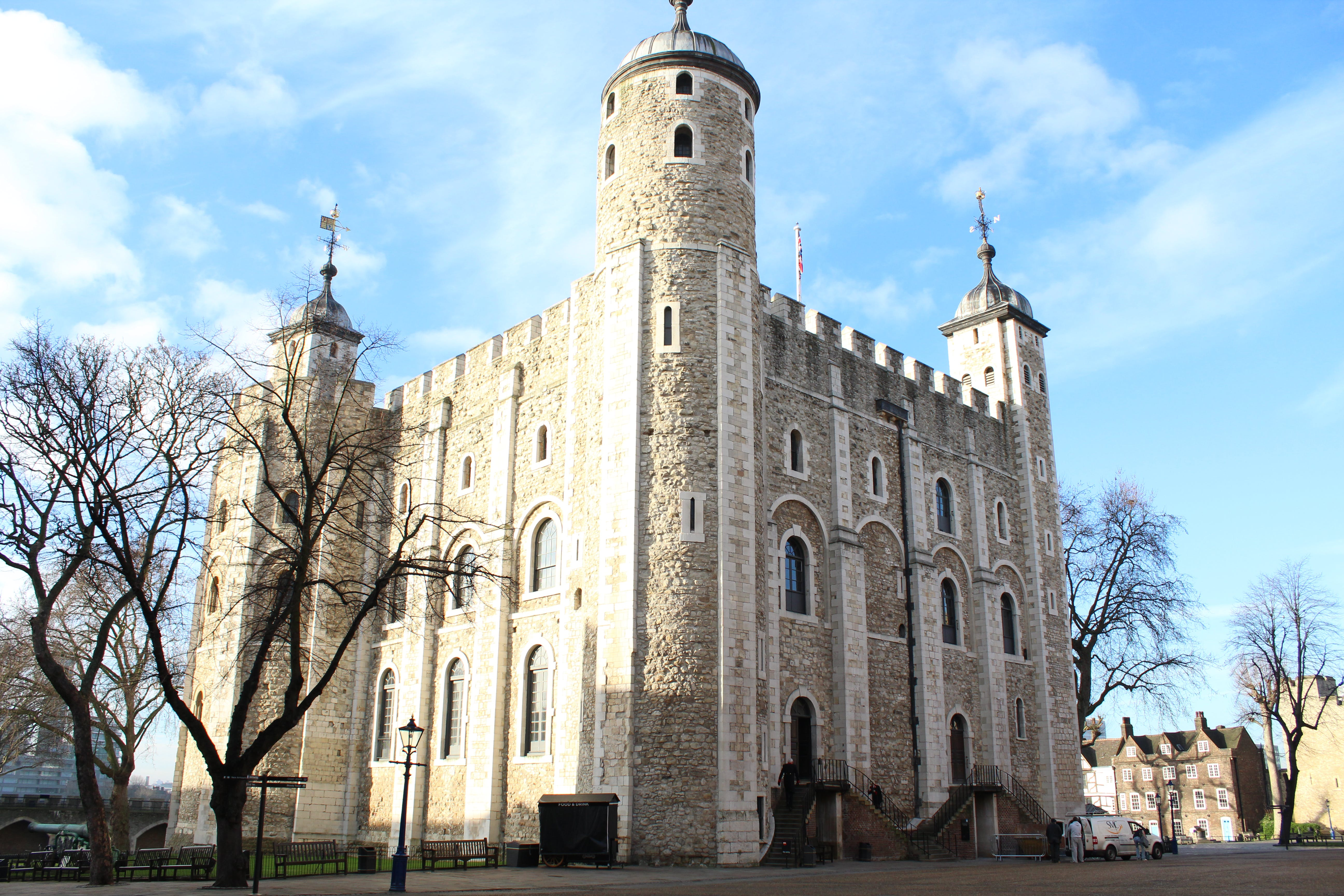White Tower at the Tower of London in daylight. North East side.