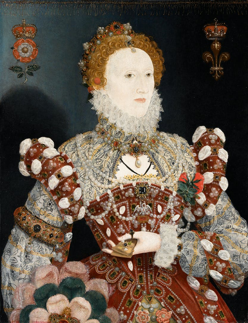 Portrait of Elizabeth I: Her figure is stylised and her face mask-like. She is shown against a flat background with little attempt to convey spatial depth.  The mother pelican on her brooch is a traditional Christian symbol of Christ's sacrifice.