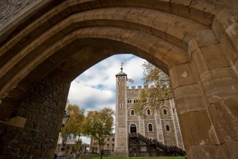 The White Tower looking north through a stone archway, October 2009.