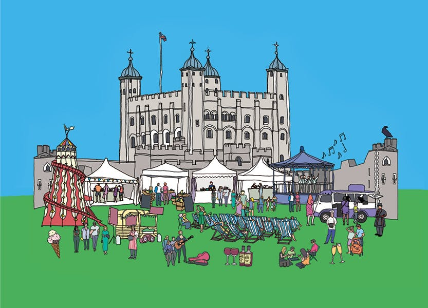 Illustration of the Tower of London's White Tower with food tents and displays in the foreground under a blue sky.