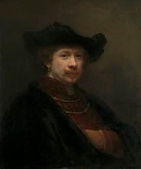 A painting by Rembrandt Van Rijn 1642 that hands in the Cumberland Art Gallery in Hampton Court Palace.   A self portrait of Rembrandt Van Rijn.