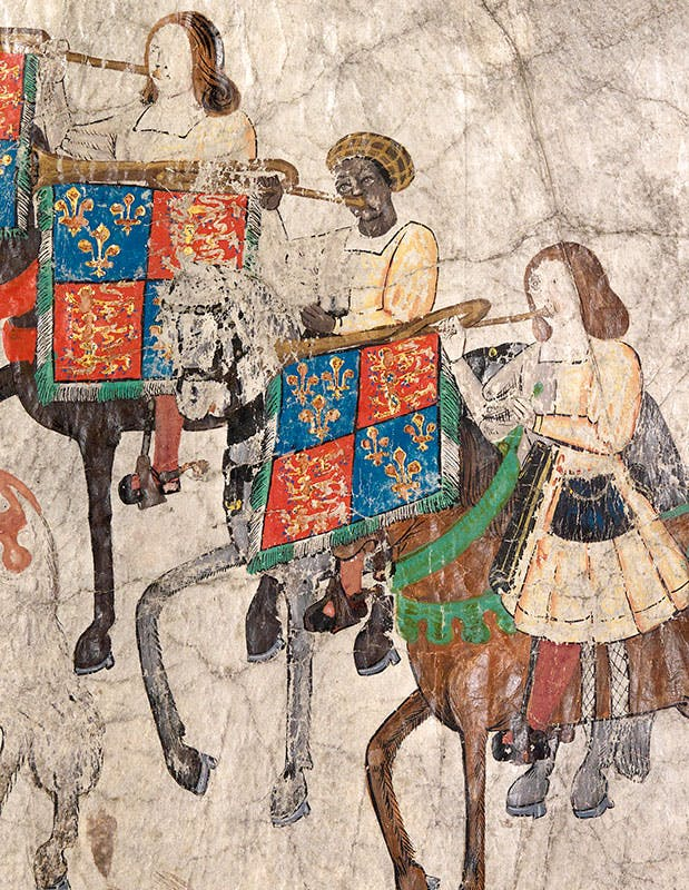 John Blanke pictured in the Westminster Tournament Roll. The Roll depicts the tournament that Henry VIII held to celebrate the birth of his first son, Henry.