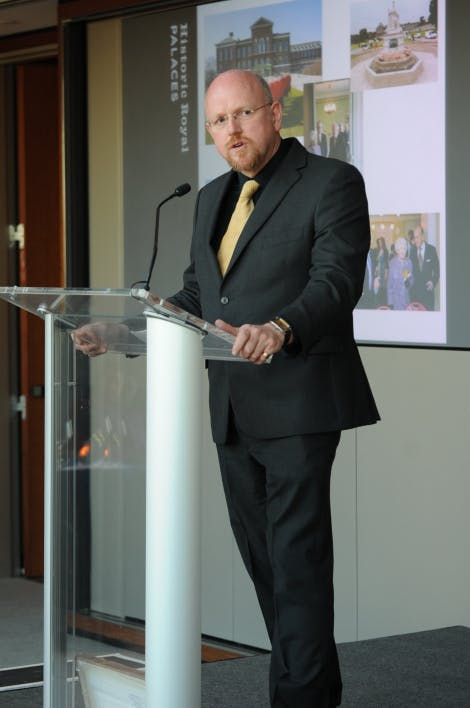 Dr Lee Prosser gives a lecture at the Hearst Tower in New York