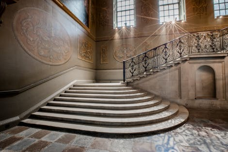 The Queen's Staircase, looking north-west. Showing wall paintings by William Kent.