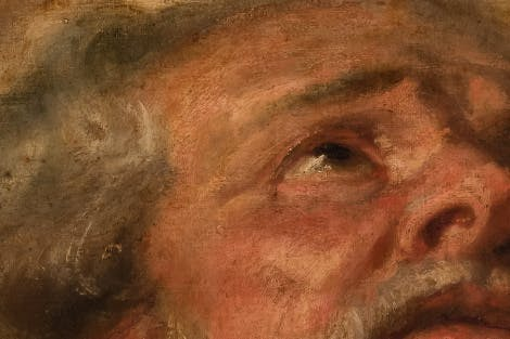 Still from the Gigapixel app at Banqueting House, which displays the Rubens ceiling in super close-up detail using new Gigapixel super-zoom technology. Showing close-up of The Apotheosis of James I