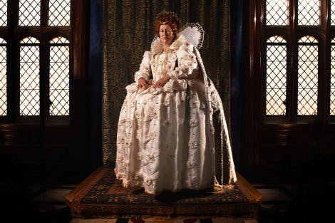 Ruth Redman as Elizabeth I, in a dress based on the 1592 'Ditchley portrait' by Marcus Gheerats The Younger.