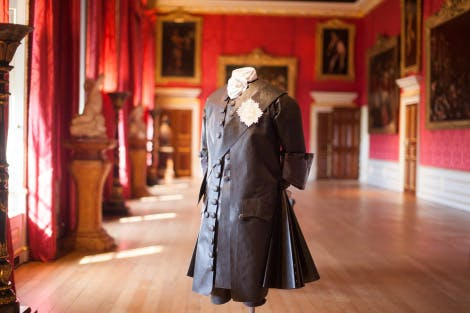 The King's Gallery, looking west. Showing a Tyvek figure dressed in black, representing King George II following the death of his wife, Queen Caroline.