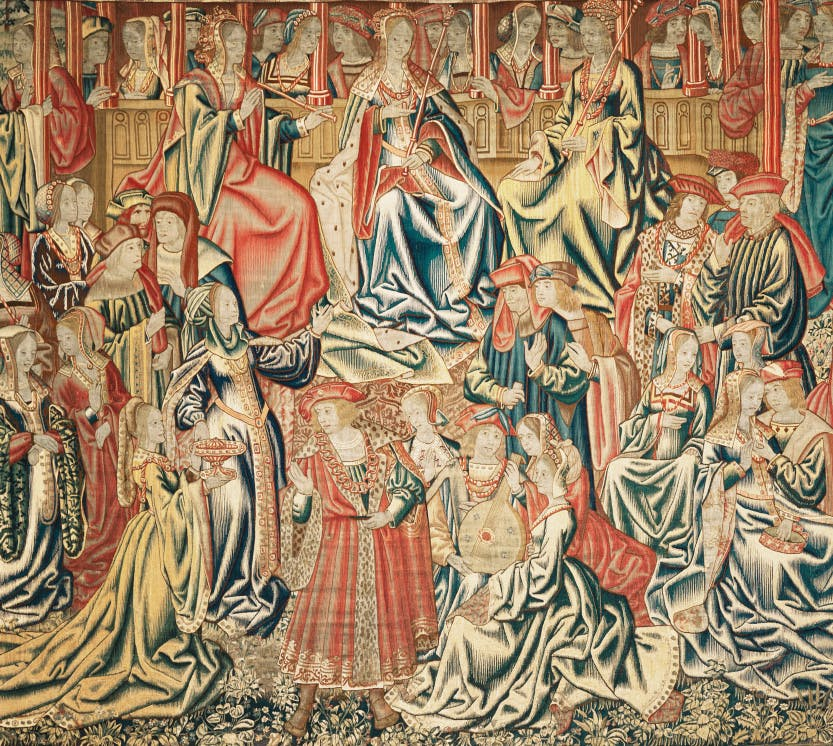 "Flemish tapestry of a Romance subject, depicting a group of figures within a floral border. The richly dressed figures are gathered around three queens, seated and bearing sceptres, and are making music or in conversation. Possibly to be identified with one of the groups of ""Plesaunce"" tapestries recorded in the 1547 inventory of Henry VIII's collection."
