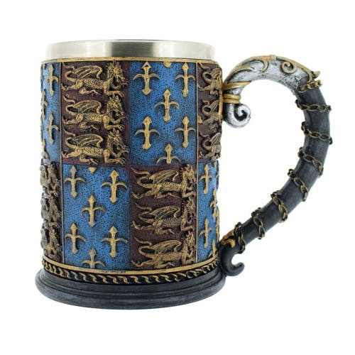 Medieval knights tankard inspired by the royal arms of England.