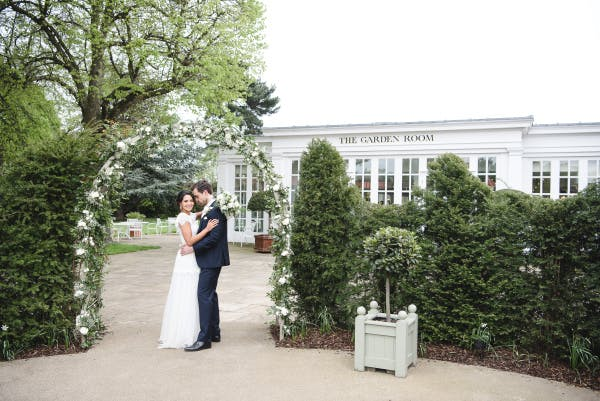 Bride and Groom at Garden Room entrance