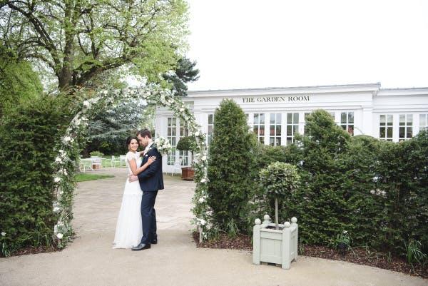 Bride and Groom at Garden Room entrance